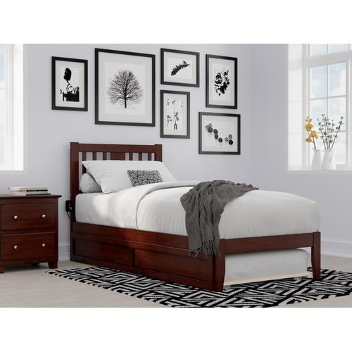 Tahoe Twin Extra Long Bed with USB Turbo Charger and Twin Extra Long Trundle in Walnut