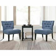 ACME Sophie 3Pc Pack Chair & Table - 59842 - Denim Blue Fabric & Black Product Image