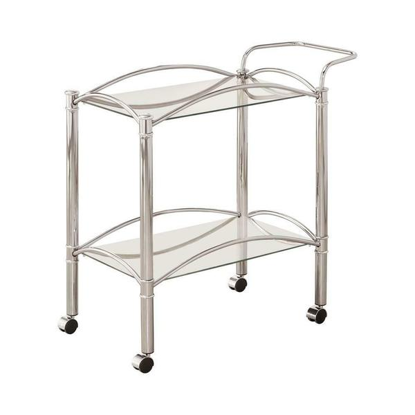 See Details - Traditional Chrome and Glass Serving Cart