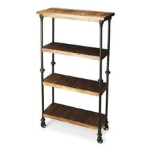 See Details - Crafted from iron finished in an epoxy gray and solid-wood planks, this unconventional Bookcase on wheels provides a compelling showcase for large books and tall decorative accessories.