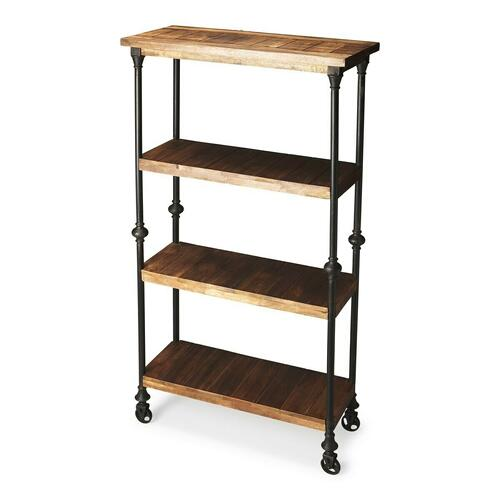 Butler Specialty Company - Crafted from iron finished in an epoxy gray and solid-wood planks, this unconventional Bookcase on wheels provides a compelling showcase for large books and tall decorative accessories.