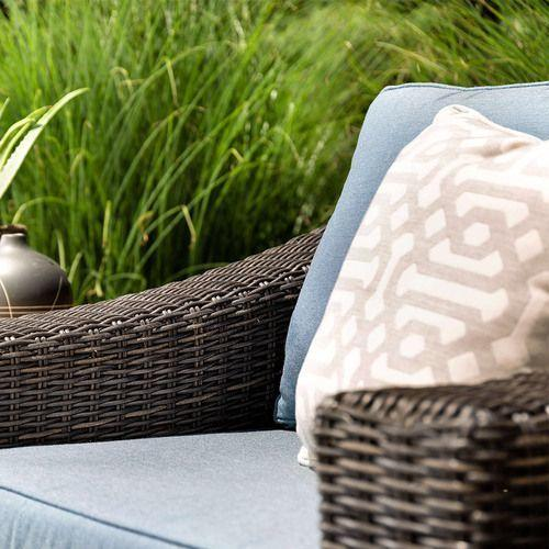 New Boston 6pc Wicker Patio Set w/ Blue Cushion