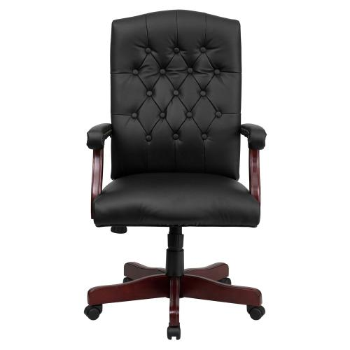 Martha Washington Black Leather Executive Swivel Chair with Arms