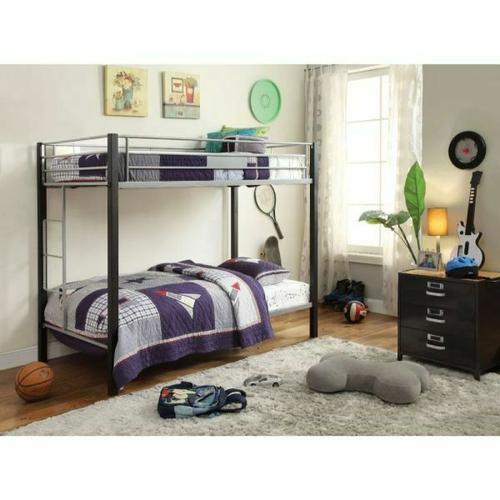 ACME Mirella Twin/Twin Bunk Bed - 37240 - Silver & Sandy Black