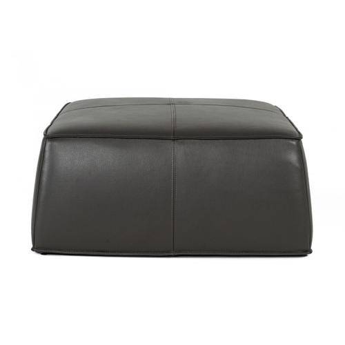 VIG Furniture - Divani Casa April - Modern Dark Grey Leather Square Ottoman