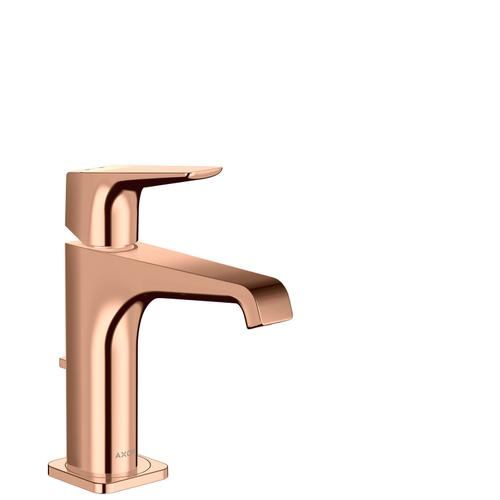 Polished Red Gold Single lever basin mixer 130 with lever handle and pop-up waste set