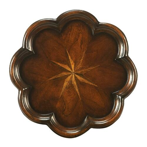 Made of select solid woods, wood products and choice veneers. Cherry, maple and walnut veneer starburst inlay on top.