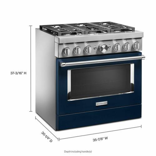 KitchenAid - KitchenAid® 36'' Smart Commercial-Style Dual Fuel Range with 6 Burners - Ink Blue