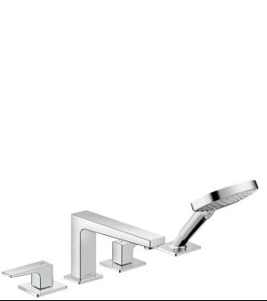 Chrome 4-Hole Roman Tub Set Trim with Lever Handles and 1.75 GPM Handshower Product Image