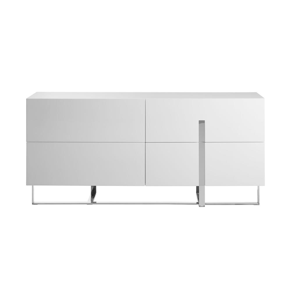 The Collins Dresser In High Gloss White Lacquer With High Polished Stainless Steel