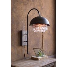 See Details - metal dome wall lamp with hanging gems