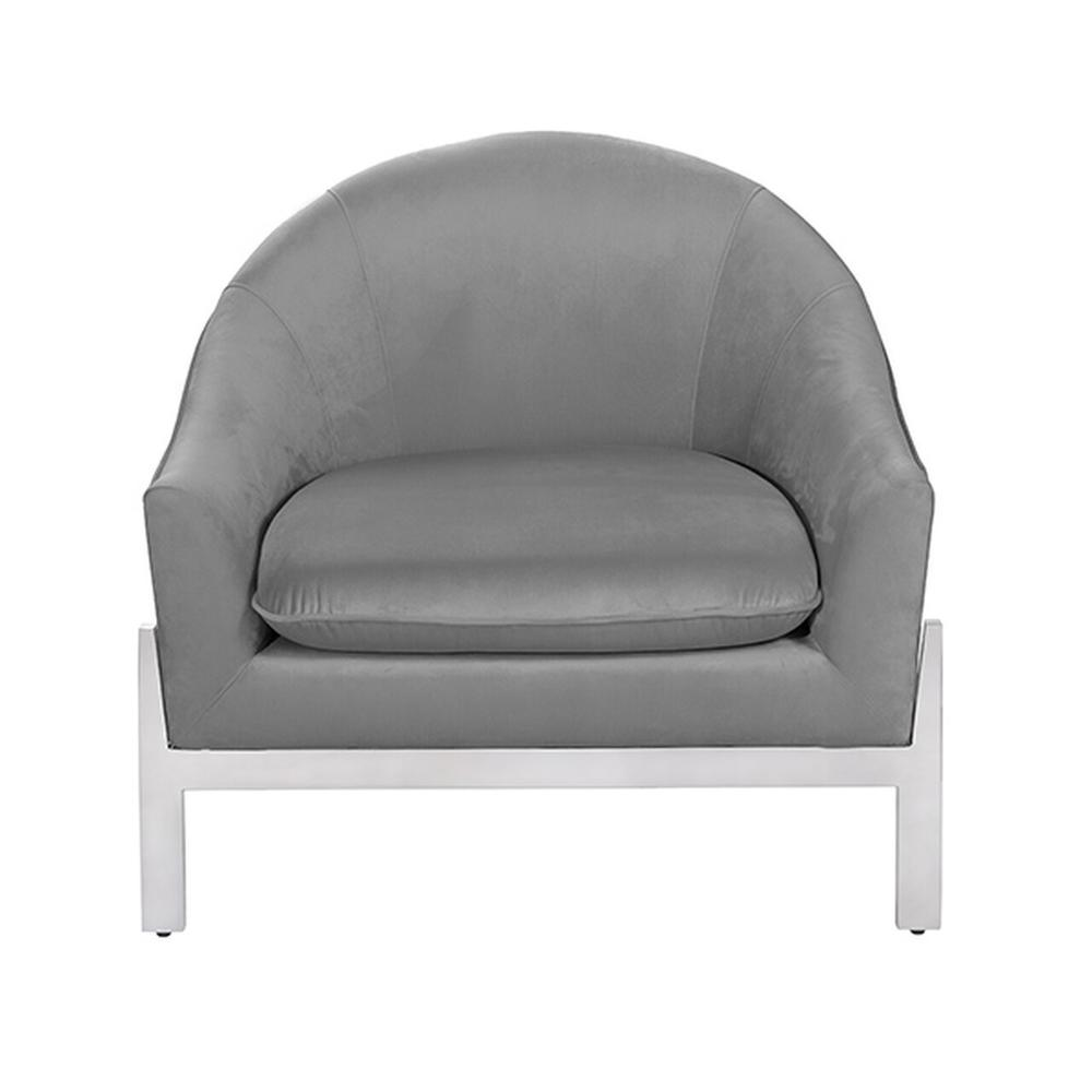 Modern Lounge Chair With Nickel Base In Grey Velvet