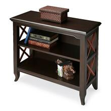 This stylish two-tone transitional bookcase is a wonderful accent in a living room, family room, hallway or home office. Made for smaller spaces, versatility is one of its key attributes. Crafted from select hardwood solids and wood products, it features X-shaped cherry finished side supports in elegant contrast with the black finish of the rest of the piece. The top and shelves are made from choice birch veneer. Shelves are fixed. Shelf dimensions: Middle- 26 1/2 'W, 11 'D, 9 1/4 'H (to top); Lower- 26 1/2 'W, 11 'D, 9 3/4 'H (to middle shelf)