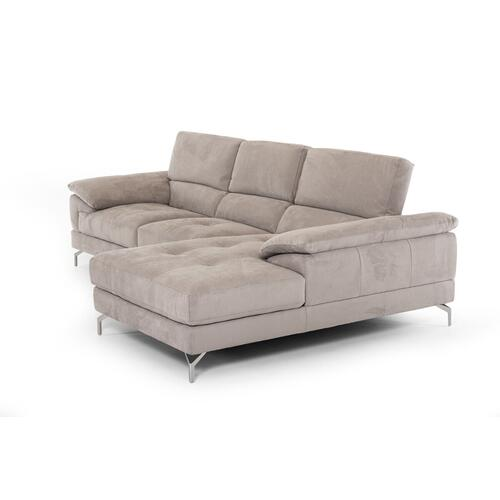 VIG Furniture - Divani Casa Marion - Modern Grey Fabric Right Facing Sectional Sofa