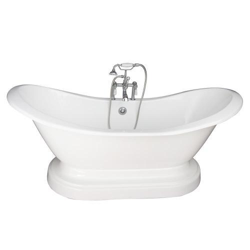 "Marshall 71"" Cast Iron Double Slipper Tub Kit - Polished Chrome Accessories"