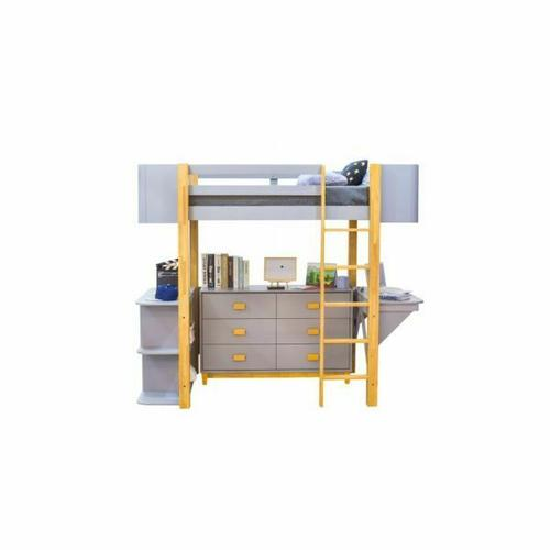 ACME Saiyan Loft Bed Set (Desk & Bookshelf) - 37990 - Scandinavian, Contemporary - Wood (Rbw), Veneer (LVL/Poplar), MDF - Gray and Natural
