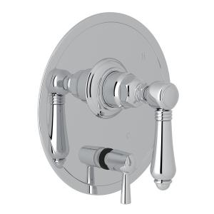 Polished Chrome Italian Bath Pressure Balance Trim With Diverter with Metal Lever Product Image