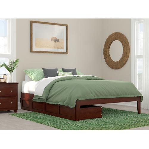 Colorado Queen Bed with USB Turbo Charger and 2 Extra Long Drawers in Walnut