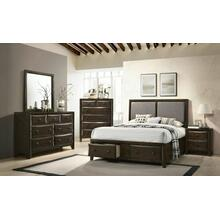 ACME Brenta Queen Bed - 26670Q - Fabric & Walnut