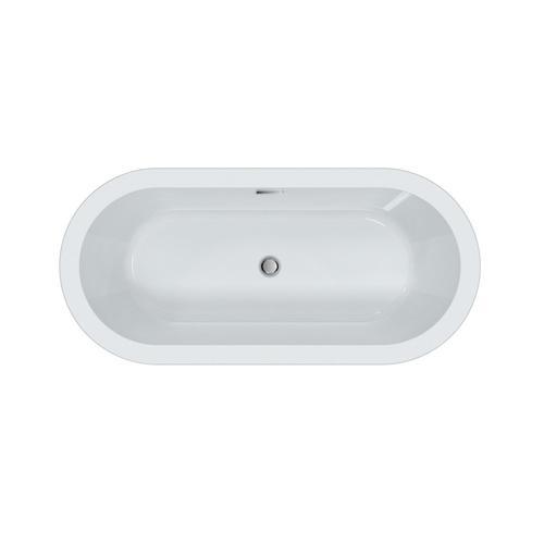 """Saxton 70"""" Acrylic Tub with Integral Drain and Overflow - Brushed Nickel Drain and Overflow"""