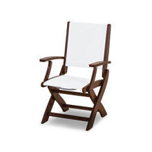 View Product - Coastal Folding Chair in Mahogany / White Sling