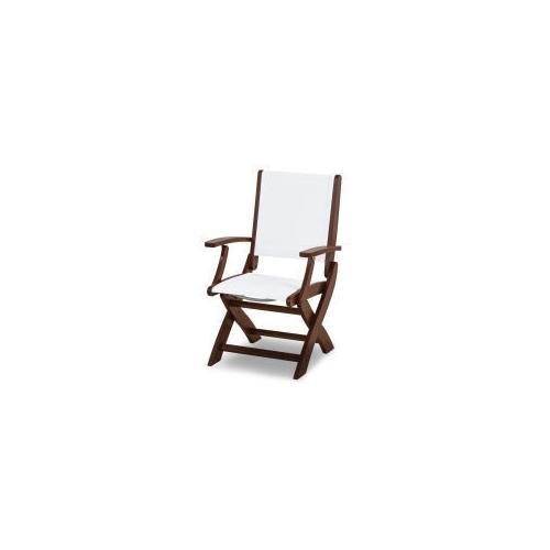 Polywood Furnishings - Coastal Folding Chair in Mahogany / White Sling