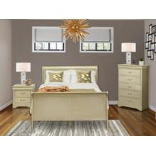 West Furniture Louis Philippe 3 Piece Queen Size Bedroom Set in Metallic Gold Finish with Queen Bed,Nightstand Chest