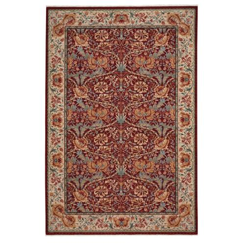 Lineage-Nouveau Red Ivory Machine Woven Rugs