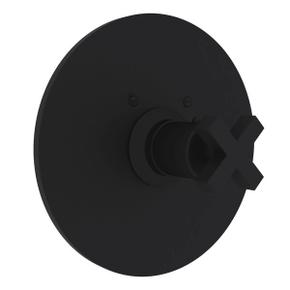 Lombardia Thermostatic Trim Plate without Volume Control - Matte Black with Cross Handle