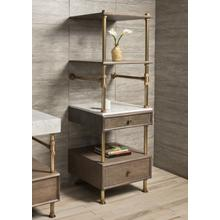 Elemental Storage Set Carrara Marble / 24in / Aged Brass