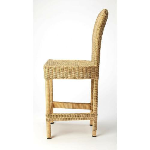 Butler Specialty Company - Make a dramatic staement to all who enter your home. This natural rattan counter stool lend a bit of weave and texture to your living space. The dramatic waterfall weave on the back side of the stool provides a dramatic design statement that your guests will notice. Crafted in woven natural rattan and iron provide a comfort zone for all who place upon it. Whether used in your kitchen, pub area, tall dining scape or simply to add a bit of texture to your space, this counter height stool is ready to stand out and be noticed.
