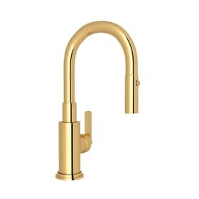 Lombardia Pulldown Bar and Food Prep Faucet - Italian Brass with Metal Lever Handle