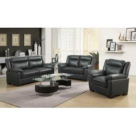 Arabella Brown Faux Leather Three-piece Living Room Set