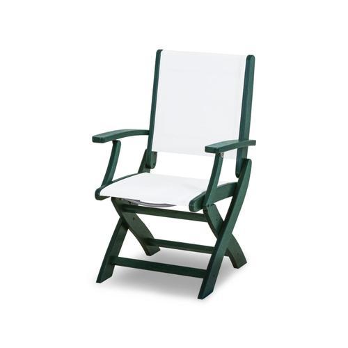 Green & White Coastal Folding Chair