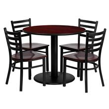 See Details - 36'' Round Mahogany Laminate Table Set with 4 Ladder Back Metal Chairs - Mahogany Wood Seat