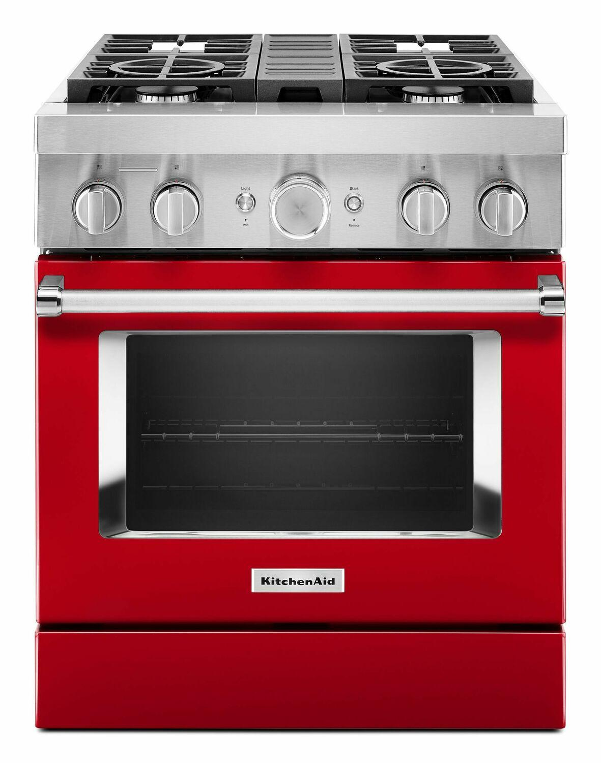 KitchenaidKitchenaid® 30'' Smart Commercial-Style Dual Fuel Range With 4 Burners - Passion Red