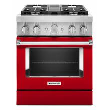 View Product - KitchenAid® 30'' Smart Commercial-Style Dual Fuel Range with 4 Burners - Passion Red