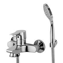 Exposed single lever bath-shower mixer with antisplash diverter, handshower Z94717.C, spray support, 1500 mm flexible hose.