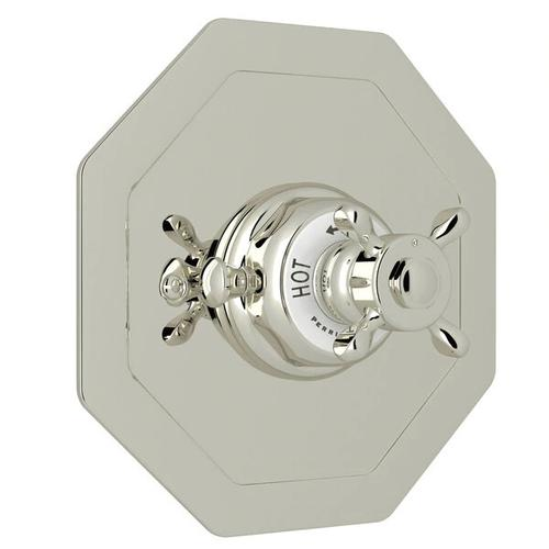 Edwardian Octagonal Concealed Thermostatic Trim without Volume Control - Polished Nickel with Cross Handle