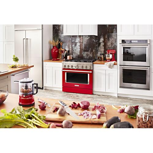 KitchenAid® 36'' Smart Commercial-Style Dual Fuel Range with 6 Burners Passion Red