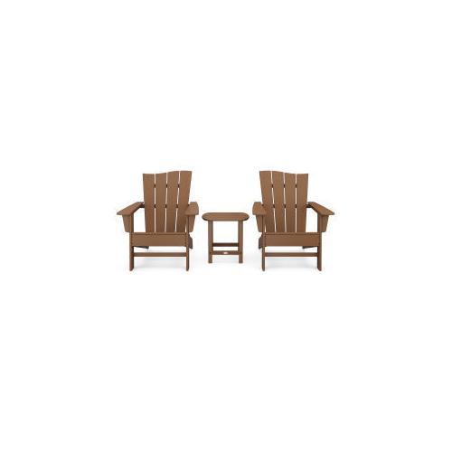 Polywood Furnishings - Wave 3-Piece Adirondack Chair Set in Teak