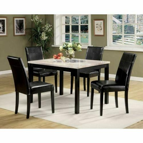 ACME Portland 5Pc Pack Dining Set - 06776 - White Faux Marble & Black