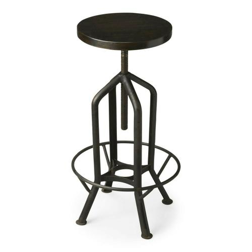 Product Image - This innovative and fashionably industrial bar stool not only swivels ™ it adjusts. No, not to your mood, but to precisely how high you want to sit. Crafted from iron and recycled wood in a black finish.