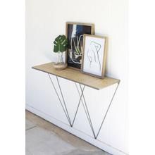 See Details - iron wall console with woven bamboo top