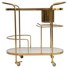 """See Details - 32""""W x 31-1/2""""H Metal 2-Tier Bar Cart on Casters w/ Built-In Ice Bucket w/ Marble/Mango Wood Shelves"""