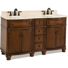 "60-1/2"" double Walnut vanity with Antique Brushed Satin Brass hardware, bead board doors, curved front, and preassembled Cream Marble top and 2 oval bowls"