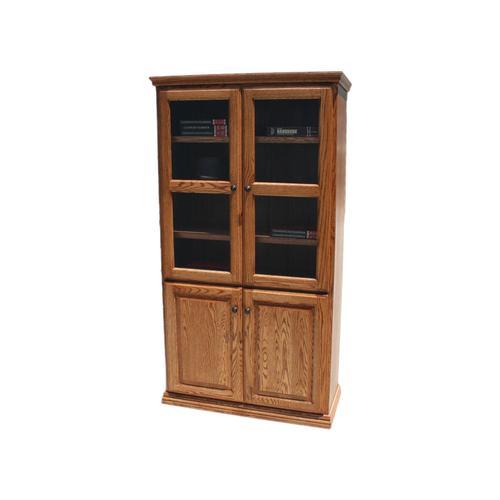 """Traditional Alder 36"""" 4-Door Bookcase"""