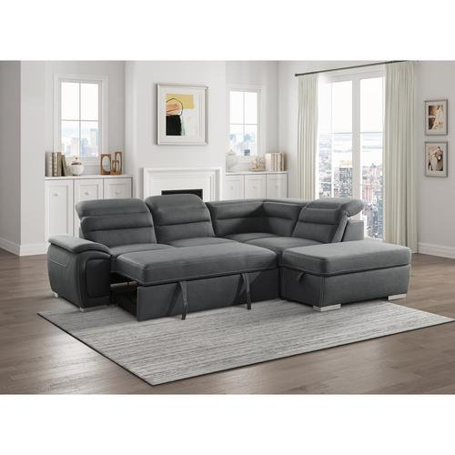 Homelegance - 3-Piece Sectional with Pull-out Bed and Storage Ottoman