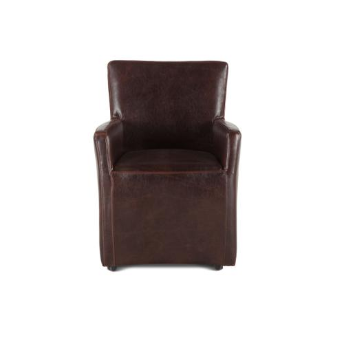 Peabody Brown Leather Wheeled Armchair