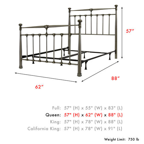 Kensington Complete Metal Bed and Steel Support Frame with Stately Posts and Detailed Castings, Vintage Silver Finish, Queen